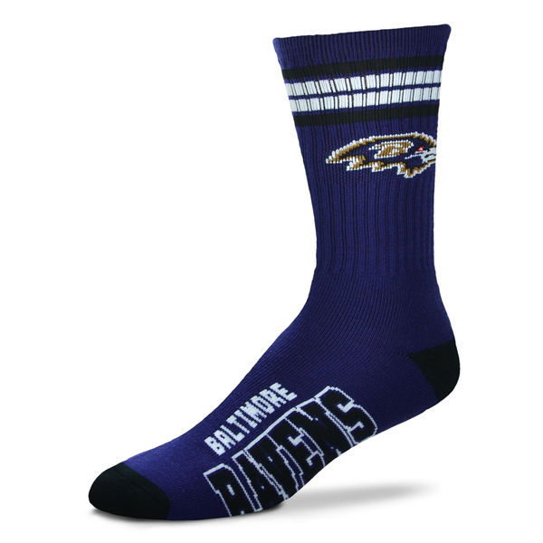 Baltimore Ravens 4 Stripe Sock