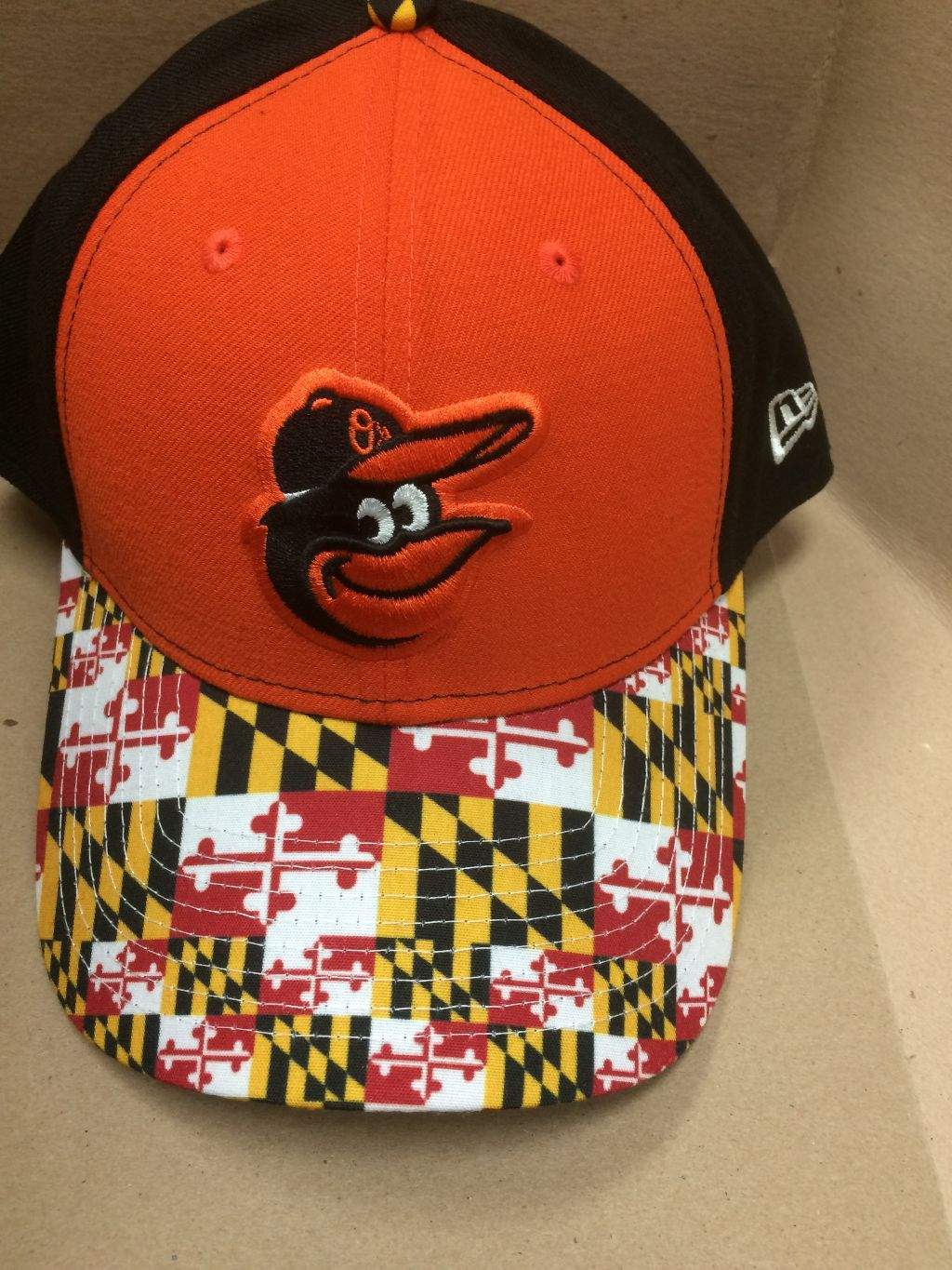 Baltimore Orioles Maryland Flag Brim Snapback Cap (Orange Front)