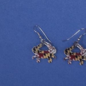 Maryland Flag Crab Earring