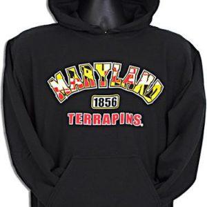 University Of Maryland Black Flag Print Hooded Sweatshirt